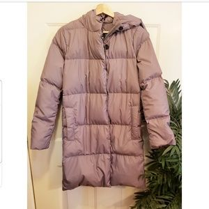 J. Crew Taupe Long Down Quilted Puffer Jacket for sale